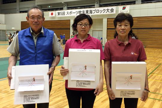 左から男子10m優勝の古川さん、女子10m優勝の須永さん、第二位の杉山さん