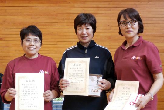 女子8m入賞者。右端が優勝した増田さん。